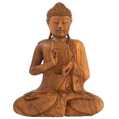 Escultura Buda em Madeira 50cm | Bali