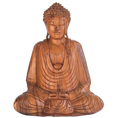 Escultura Buda Meditando em Madeira 40cm | Bali