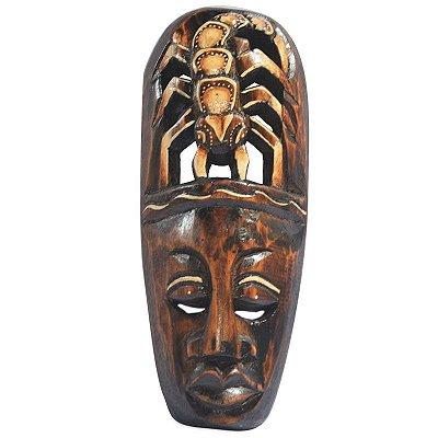 Máscara Escorpião Entalhado em Madeira 30cm - Bali