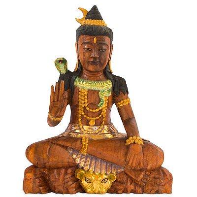 Estátua Shiva em Madeira 50cm | Bali