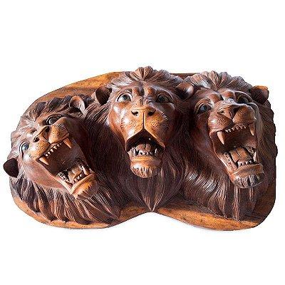 Painel Trio de Leões em Madeira 62cm - Bali