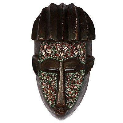 Máscara Africana Colorida em Madeira 32cm