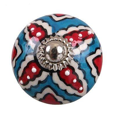 Puxador de Porcelana - Azul/ Vermelho