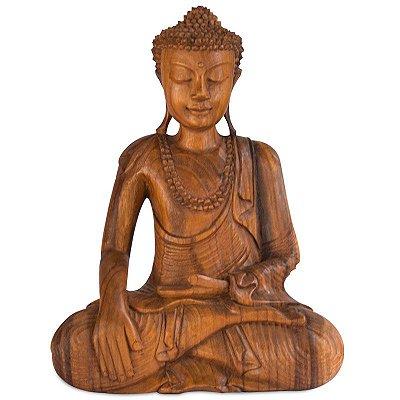 Escultura Buda em Madeira 40cm - Bali