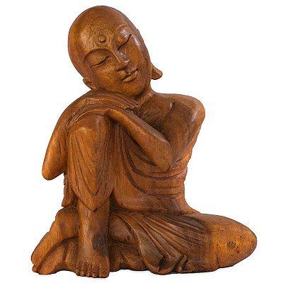Monge Budista Relax em Madeira 20cm | Bali