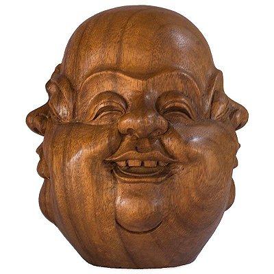 Escultura Happy Buda 03 Faces em Madeira - 20cm
