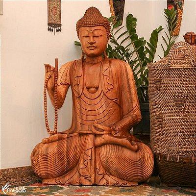 Buda c/ Japamala em Madeira 102cm | Bali