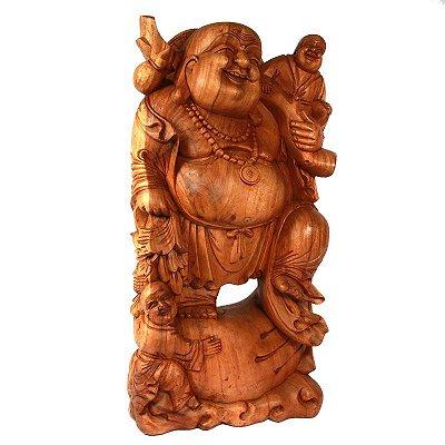 Escultura Happy Buda em Madeira 103cm   Bali