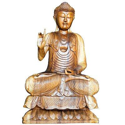 Escultura Buda em Madeira Suar 80cm - Bali