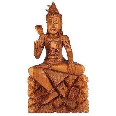 Escultura Shiva em Madeira Suar 80cm | Bali
