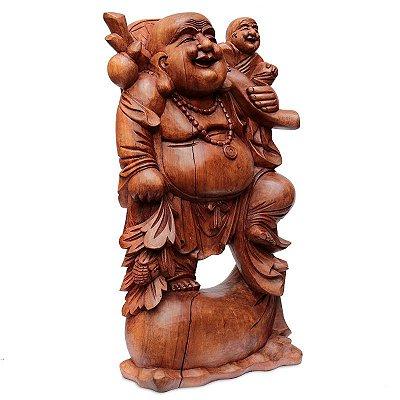 Escultura Happy Buda em Madeira Suar 80cm   Bali