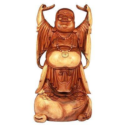 Escultura Buda Feliz em Madeira 103cm | Bali