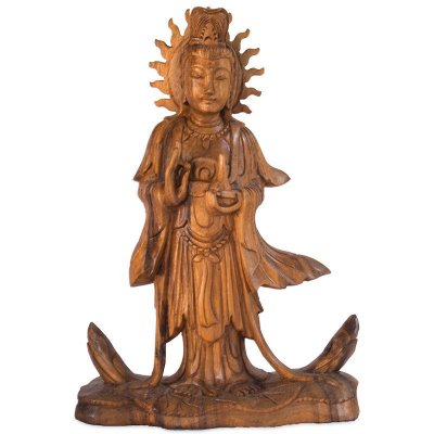 Estátua Kuan Yin em Madeira 31cm | Bali