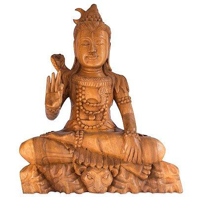 Escultura Shiva em Madeira Suar 54cm | Bali