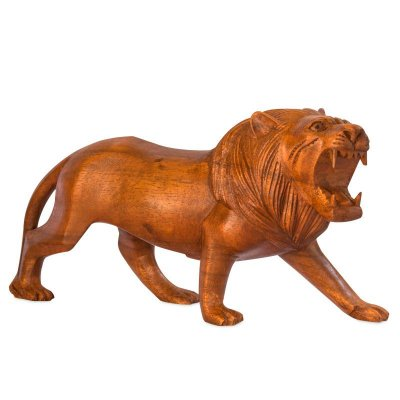 Leão Decorativo em Madeira 50cm   Bali