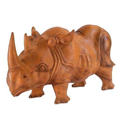 Rinoceronte Decorativo em Madeira 30cm | Bali