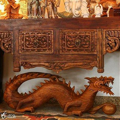 Dragão Decorativo em Madeira 104cm | Bali