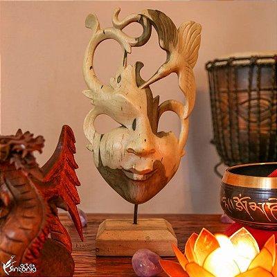 Máscara Abstrata Hibiscus Wood 28cm | Bali