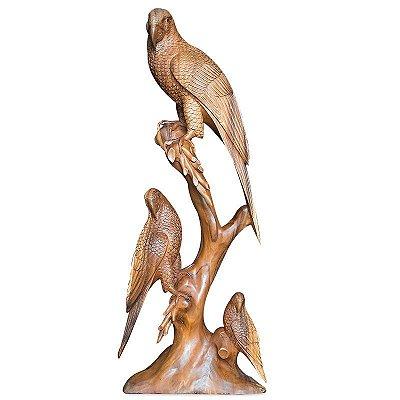 Escultura Pássaros em Madeira 100cm | Bali
