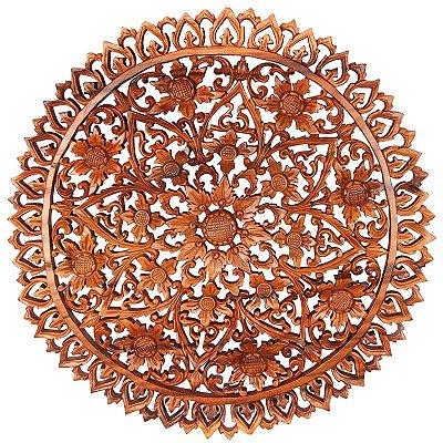Mandala Floral Entalhada 60cm | Bali