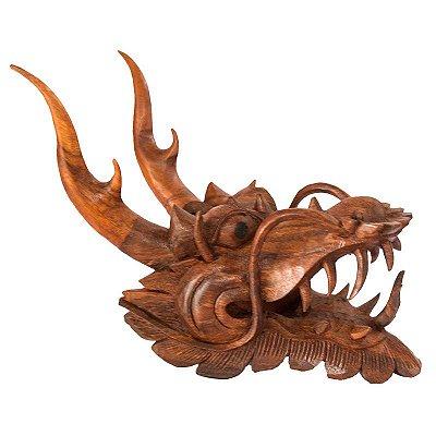 Escultura Dragão em Madeira Suar | Bali