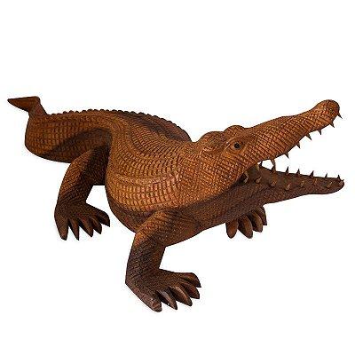 Escultura Crocodilo em Madeira 50cm | Bali