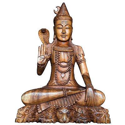 Escultura Shiva em Madeira 80cm - Bali