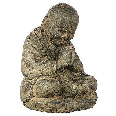 Monge Budista Orando em Cimento 30cm | Bali