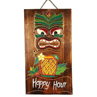 Placa Happy Hour Tiki Havaiana 50cm | Bali
