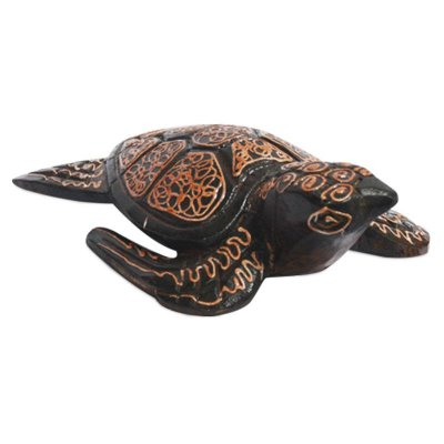 Tartaruga Decorativa em Madeira 20cm | Bali