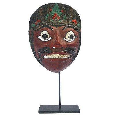 Máscara Balinesa c/ Suporte em Madeira 30cm   Bali