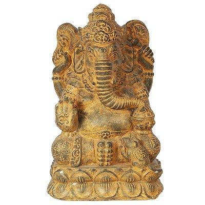 Escultura Ganesh em Cimento 35cm |Bali
