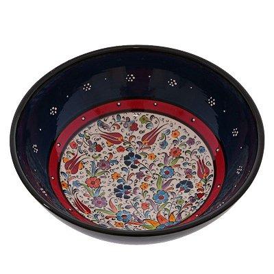 Tigela Turca em Cerâmica Floral   Azul