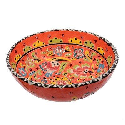 Tigela Turca em Cerâmica Relevo 16cm   Laranja