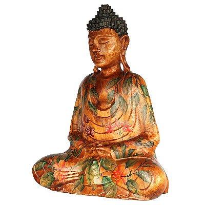 Buda Meditando em Madeira 50cm