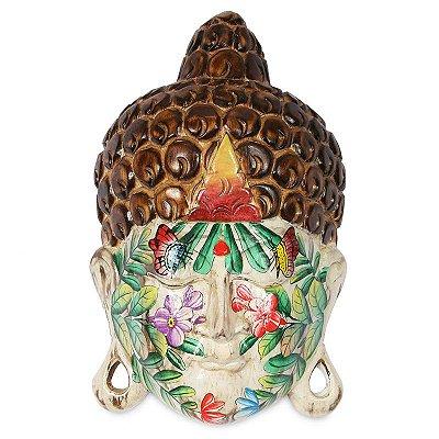 Buda Tattoo em Madeira Branca 40cm
