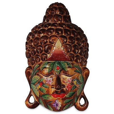 Cabeça de Buda Tatuada em Madeira Natural