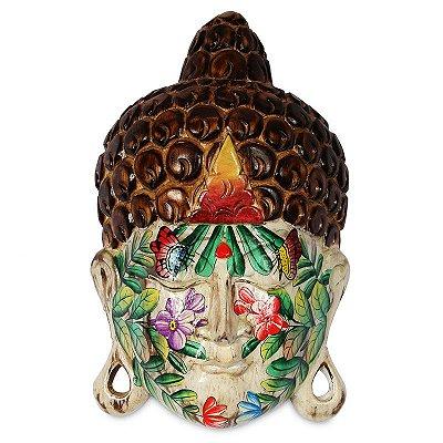 Cabeça de Buda Tatuada em Madeira Branca