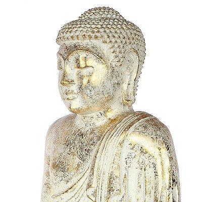 Estátua Buda Pátina | Branco e Dourado