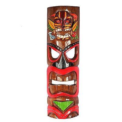 Máscara Tiki Havaiana em Madeira Clara
