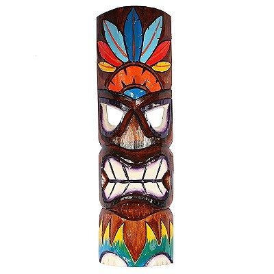 Máscara Tiki Penas 50cm | Totem Havaiano