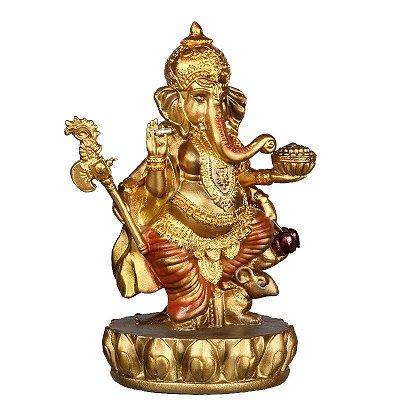 Deus Hindu Ganesh | Dourado e Vermelho