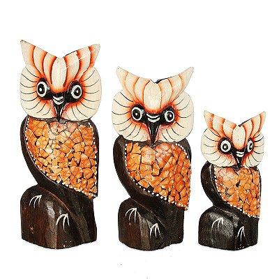 Trio de Esculturas Artesanais | Corujas