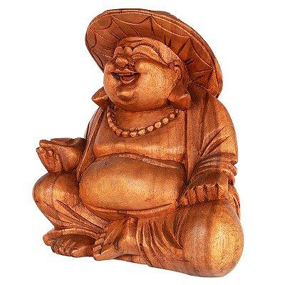 Escultura Buda Feliz c/ Chapéu | Bali