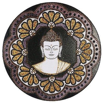 Mandala em MDF Buda com Flores | 36cm