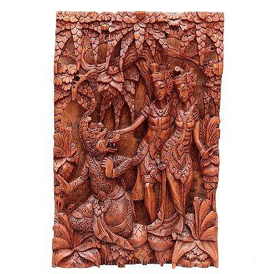Painel Entalhado Rama e Sita 50cm - Bali
