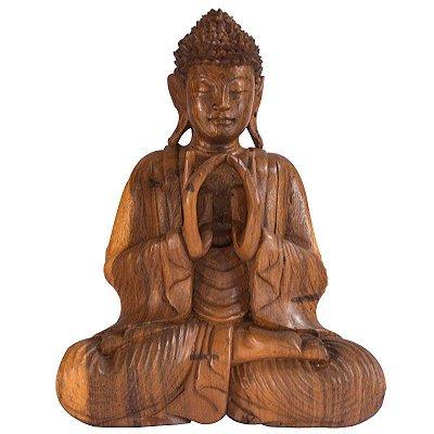 Escultura Buda em Madeira Suar 50cm | Bali