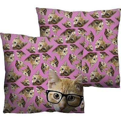 "Capa de Almofada ""Geek Cat"" 45x45cm"