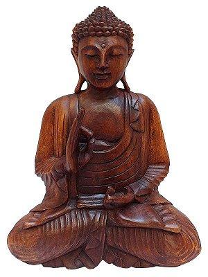 Escultura de Buda em Madeira 40cm