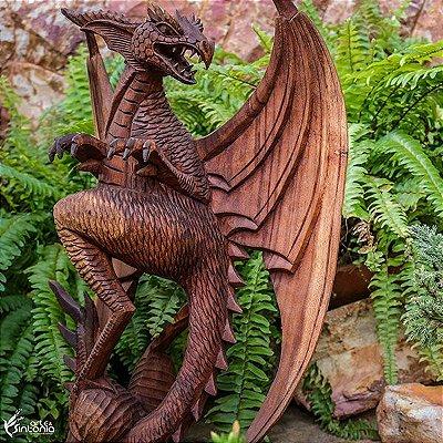 Dragão Medieval em Madeira 40cm - Bali